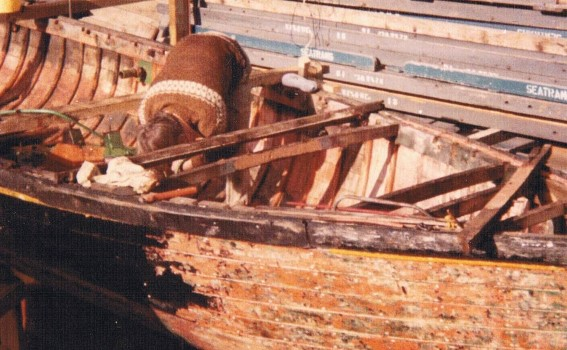 Back to bare kauri hull on 29ft Florence built around 1910 one of Peter and his brother Jim's first projects