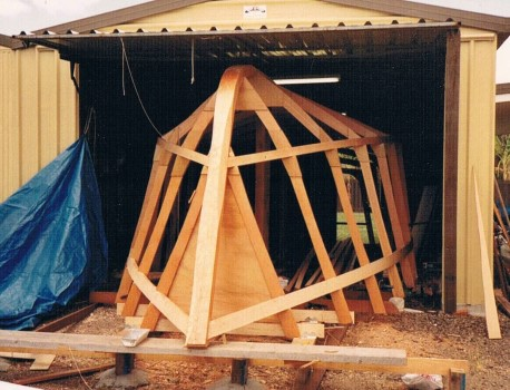 Peters first new build and Lorma's introduction to boatbuilding was a 26ft plywood reef fishing boat